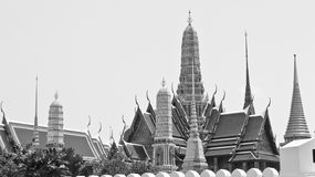 Old temple, Temple of the Emerald Buddha, Wat Phra Kaew monochrome in Bangkok, Thailand Stock Image