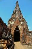 The Old Temple. Wat Chai-Watthanaram(Ayutthaya Historical Park), Thailand. Asian religious architecture. Ancient Buddhist pagoda ruins Royalty Free Stock Photo