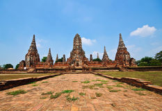 Old Temple wat Chaiwatthanaram of Ayuthaya Province Royalty Free Stock Photo