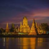 Old Temple wat Chaiwatthanaram of Ayutthaya Province Royalty Free Stock Photo