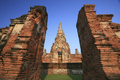 Old temple at Wat Chaiwatthanaram, Ayutthaya province, Thailand. Royalty Free Stock Photo