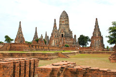 Old Temple Wat Chaiwatthanaram of Ayutthaya Province Royalty Free Stock Photo