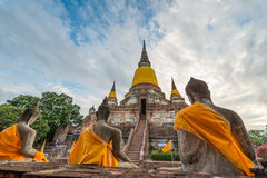 Old temple at Wat Yai Chai Mongkol Stock Photos
