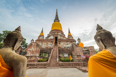 Old temple at Wat Yai Chai Mongkol Stock Photography