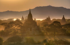 Old temples in Bagan, Myanmar. Old temples at sunset time in Bagan, Myanmar stock images