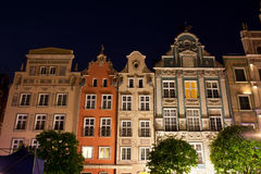 Old Tenement Houses at Night in Gdansk Stock Photos