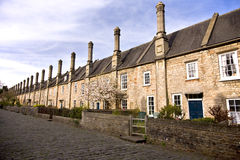 Old terraced houses in Somerset. Vicars Close in the city of Wells, Somerset, UK Royalty Free Stock Images