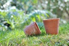 Old terracotta pots in garden Royalty Free Stock Photo