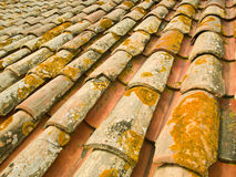 Old terracotta roof tiles. Detail of old weathered terracotta roof tiles Royalty Free Stock Photo