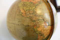 Old terrestrial globe. Scene of the old terrestrial globe with a view of America Stock Images
