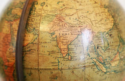 Old terrestrial globe. Scene of the old terrestrial globe with a view of India and Southeast Asia Royalty Free Stock Photography