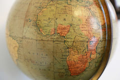 Old terrestrial globe with a view of Africa. Scene of the old terrestrial globe with a view of the African Continent Stock Photography