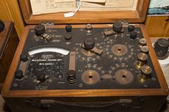 Old testing set from 1900. Multiveral testing set early 1900 very old technology for testing current or signal royalty free stock image