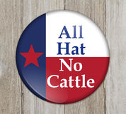 A old Texan saying button. Button with a Texas flag with text All Hat No Cattle on weathered wood Stock Photo