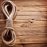 Of old texture of wooden boards with ship rope. Stock Photos