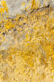 Old textured abandoned yellow wall Royalty Free Stock Images