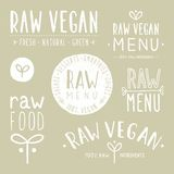 Old textured raw vegan badges. Vector EPS 10 hand drawn labels Stock Photography