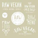 Old textured raw vegan badges. Vector EPS 10 hand drawn labels stock illustration