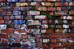 Old Textured Wall with Colorful Bricks Stock Photo