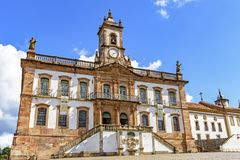 Old 18th century building in colonial architecture in the central square of the city of Ouro Pret0. Old 18th century building in colonial architecture in the stock photography