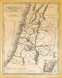 Ancient Palestine Map Printed 1845. An old 19th century map, engraved and printed in England in 1845, depicting ancient Palestine ('Antiqua Palestina' as it's Stock Photography