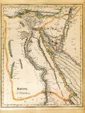 19th Century Egypt Map. An old 19th century map, engraved and printed in England in 1845, depicting Egypt (Jerusalem in the north down to the border with Nubia royalty free stock image
