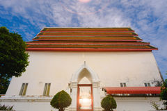 Old thai architecture of main ordination hall Royalty Free Stock Photo