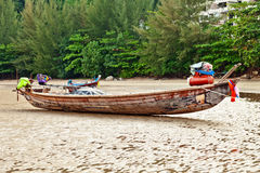 Old Thai boat at the beach Stock Images