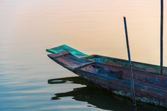 Old thai Boat head on river in evening time Stock Photo