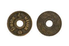 Old thai coins 1 satang. Year 1935 isolated on white background stock images