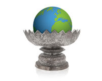Old thai style silver pedestal tray and the earth Royalty Free Stock Image