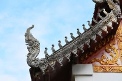 Temple roof. Old Thai temple roof with sky stock image