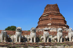 Old thai temple. Wat Thammikarat at Ayutthaya, thailand Royalty Free Stock Images