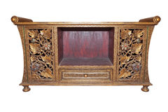Old thai wood furniture desk isolated white Royalty Free Stock Photos