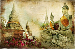 Old Thailand. Ancient cities of mysterious Thailand - artwork in painting style Stock Images