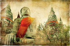 Old Thailand. Ancient cities of mysterious Thailand - artwork in painting style Stock Photo