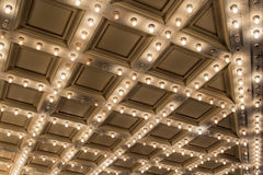Old Theater Marquee Ceiling Lights stock images