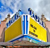 Old Theater Marquee sign. An old rusty neon theater marquee sign in downtown Hillsboro Oregon Stock Photo