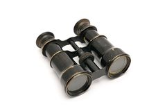 Old theatre binoculars. Isolated on white background Stock Image