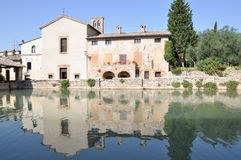 Old thermal baths in Bagno Vignoni Tuscany Stock Photo