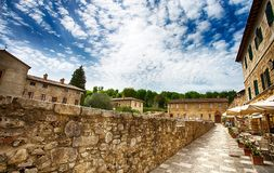 Old thermal baths in the medieval village Bagno Vignoni, Siena province,Tuscany, Italy. stock photography