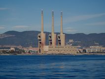 Old thermal power station of the Besos river in Barcelona royalty free stock images
