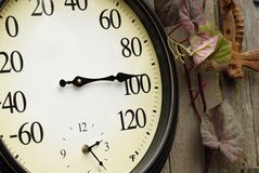 Old thermometer and clock Royalty Free Stock Image