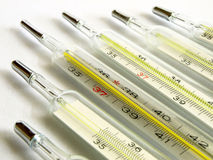 Old thermometers. Photo of six old thermometers on white background Stock Photography