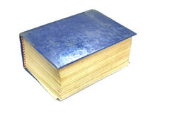 Old thick book blue cover on white background Royalty Free Stock Image