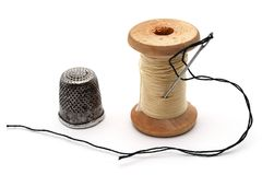 Old thimble, the old coil Royalty Free Stock Image