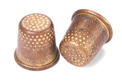 Old thimbles. On white with shadow Royalty Free Stock Image