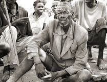 Old thin African man in tattered,dirty clothing,Uganda
