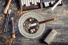 Old thin pipe ready to smoke Stock Photography