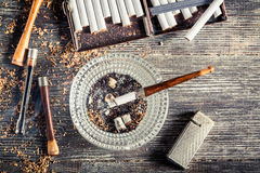 Old thin pipe ready to smoke Royalty Free Stock Photography